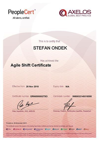 AgileSHIFT certifikát Štefan Ondek