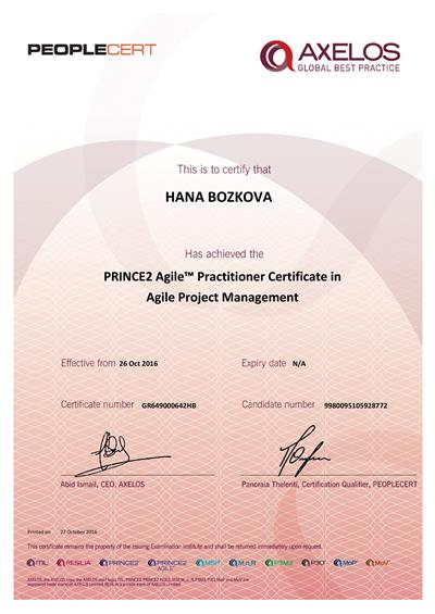 PRINCE2 Agile Practitioner certifikát Hana Božková