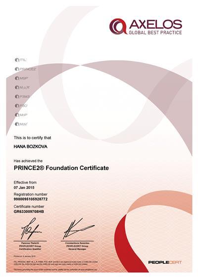PRINCE2 Foundation certifikát Hana Božková