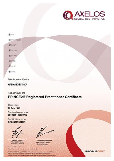 PRINCE2 Practitioner certifikát Hana Božková