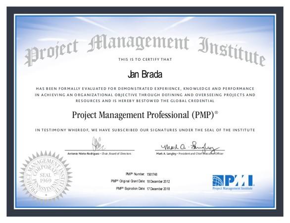 PMI PMP certifikát Jan Brada