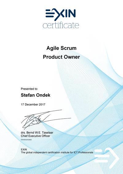 Agile Scrum Master certifikát Štefan Ondek
