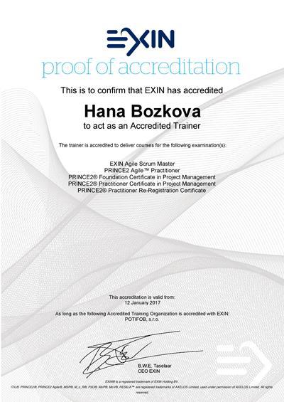 Agile Scrum Master, PRINCE2 Agile a PRINCE2 Approved Trainer certifikát Hana Božková