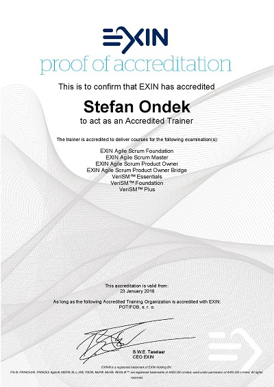 proof of accreditation by EXIN