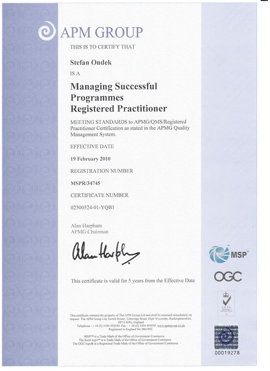certifikát MSP Practitioner Štefan Ondek