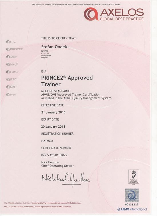 PRINCE2 Approved Trainer certifikát Štefan Ondek od APMG 2015-2018