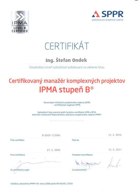 certifikát IPMA B Štefan Ondek