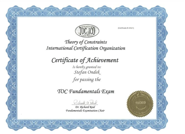 Theory of Constraints Fundamentals Certificate of Achievement Štefan Ondek