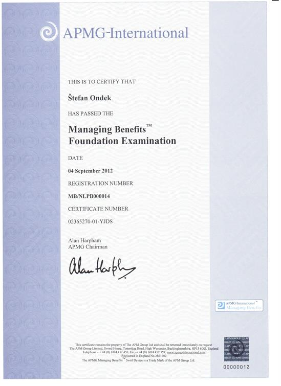 certifikát Management of Benefits Foundation Štefan Ondek