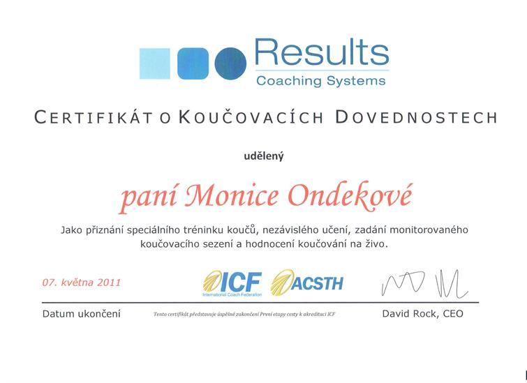 certifikát koučing Monika Ondeková