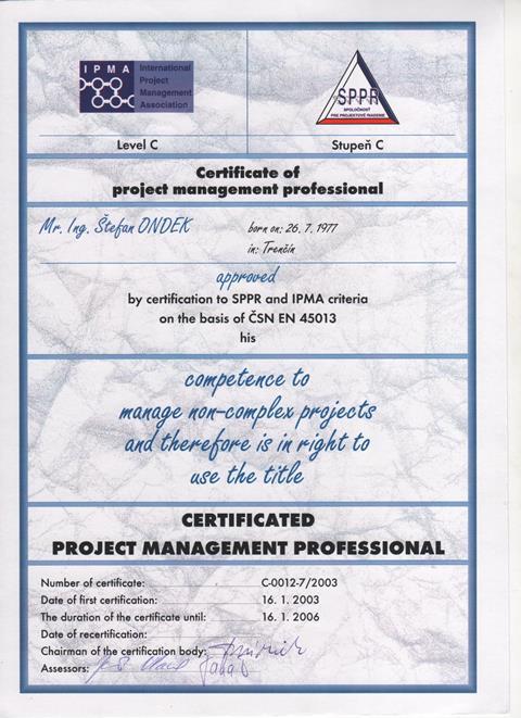 certifikát IPMA C Štefan Ondek 2003-2006