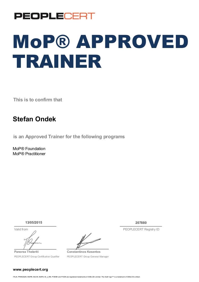 Certifikát MoP Approved Trainer Štefan Ondek