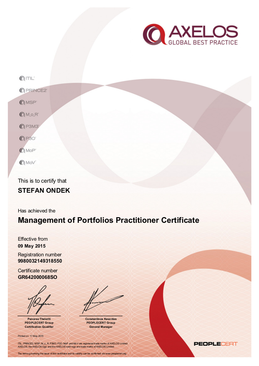 Certifikát MoP Practitioner Štefan Ondek