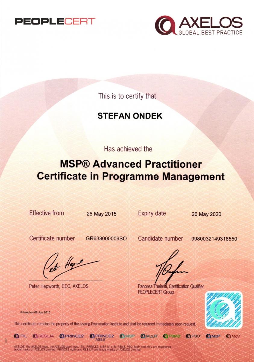 Certifikát MSP Advanced Practitioner Štefan Ondek 2015-2020