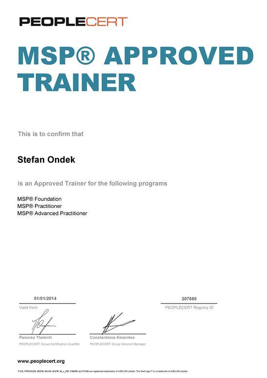 certifikát MSP Approved Trainer Štefan Ondek