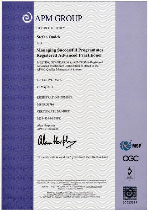 certifikát MSP Advanced Practitioner Štefan Ondek 2010-2015