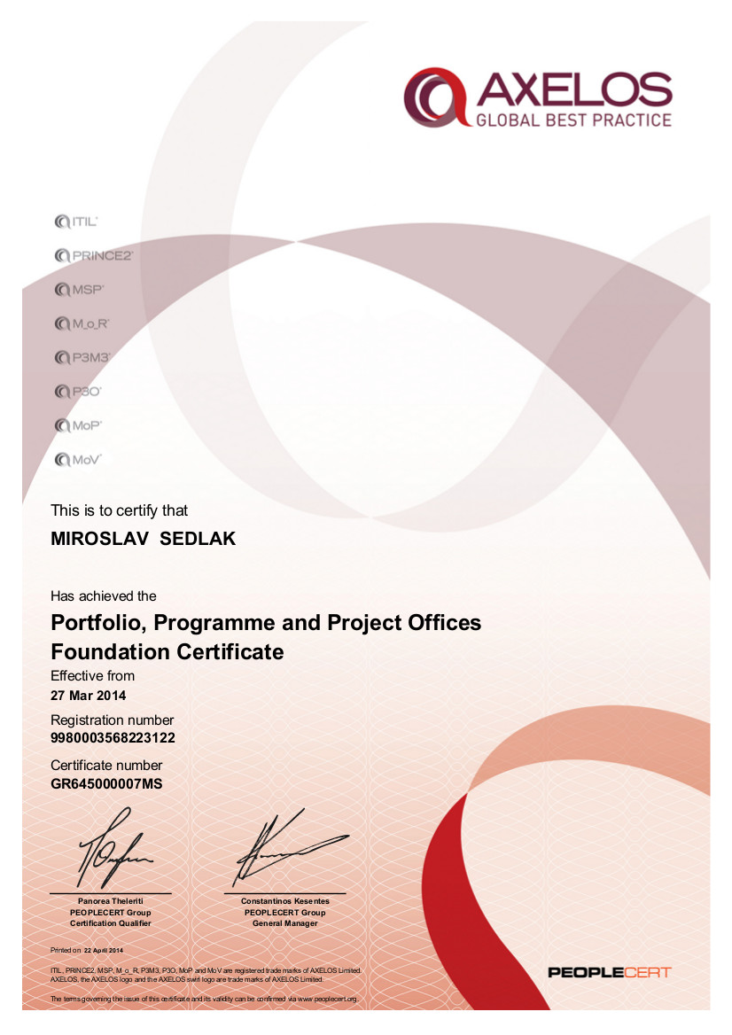 certifikát P3O Foundation Miroslav Sedlák