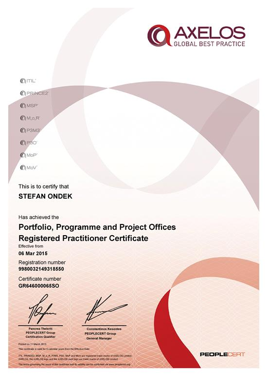 certifikát P3O Registered Practitioner Štefan Ondek