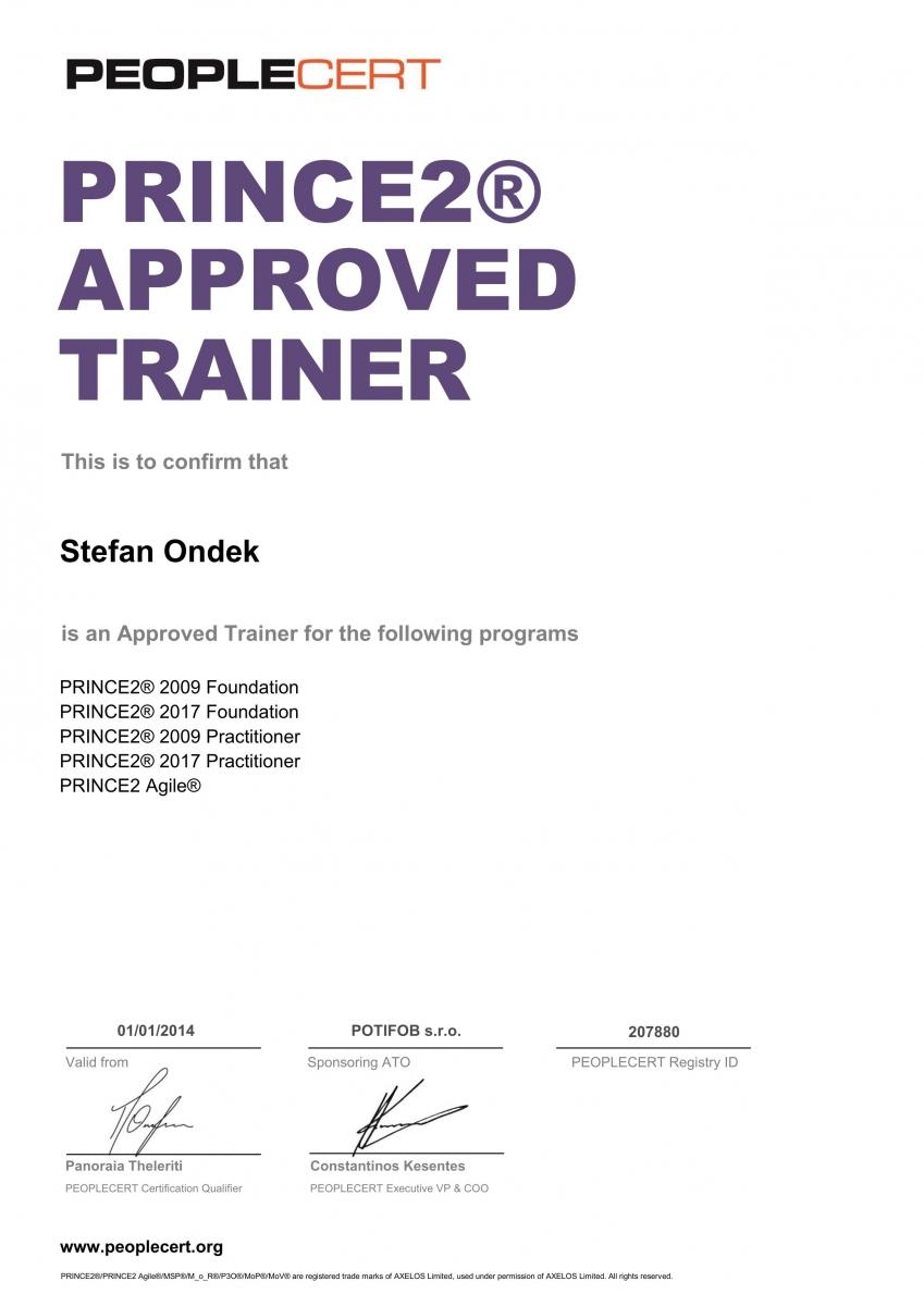 certifikát PRINCE2 2017 + PRINCE2 Agile Approved Trainer Štefan Ondek