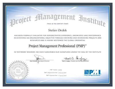 certifikát PMI PMP Štefan Ondek