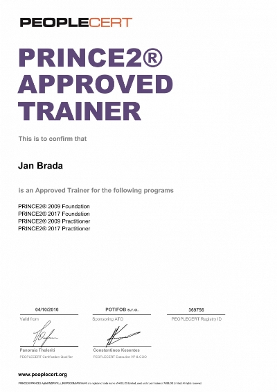 PRINCE2 Approved Trainer certifikát Jan Brada