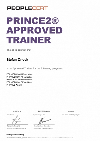 PRINCE2 2017 + 2009 Approved Trainer Stefan Ondek