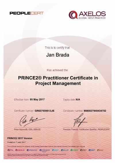 PRINCE2 2017 Practitioner Jan Brada