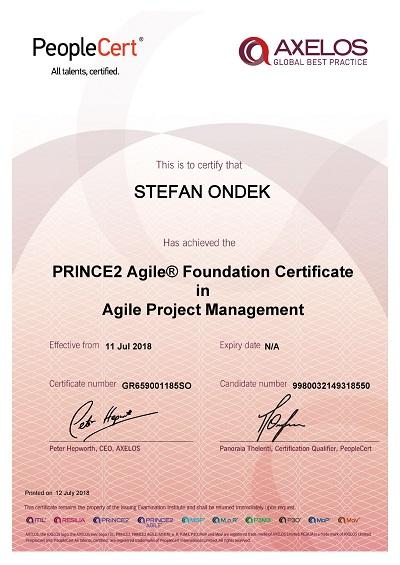 PRINCE2 Agile Foundation certifikát Štefan Ondek
