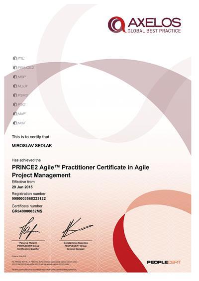 certifikát PRINCE2 Agile Practitioner Miroslav Sedlák