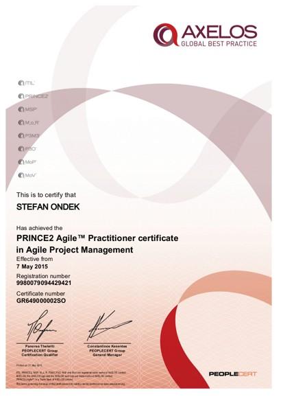 certifikát PRINCE2 Agile Practitioner Štefan Ondek