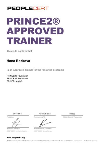 PRINCE2 a PRINCE2 Agile Approved Trainer