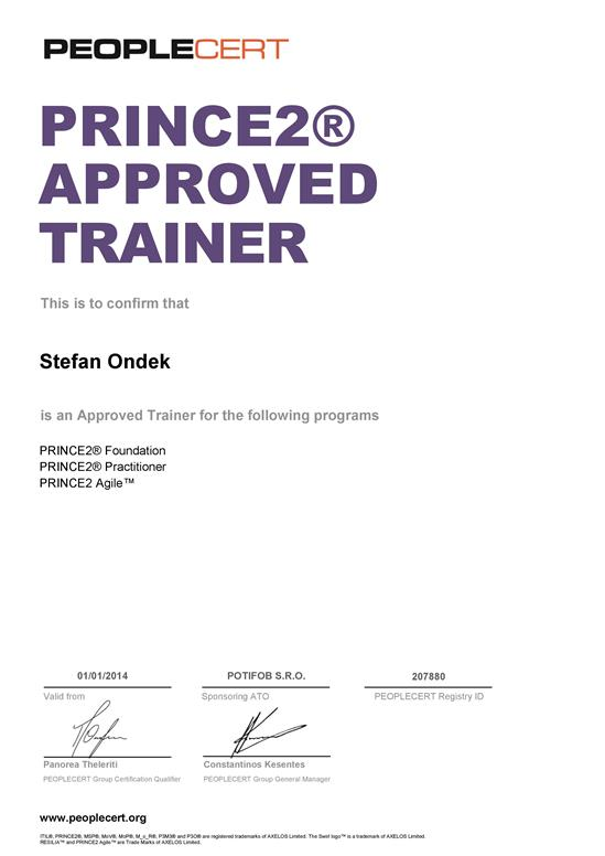certifikát PRINCE2 + PRINCE2 Agile Approved Trainer Štefan Ondek