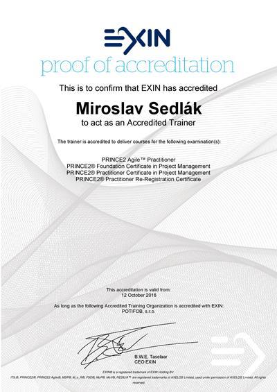 PRINCE2 a PRINCE2 Agile Accredited Trainer certifikát Miroslav Sedlák od EXIN