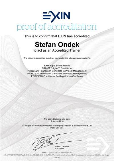 EXIN Agile Scrum Master, PRINCE2 a PRINCE2 Agile Accredited Trainer certifikát Štefan Ondek