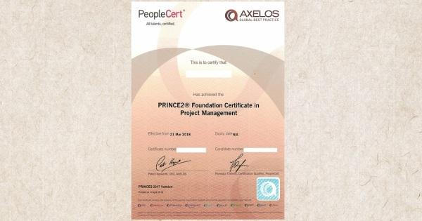 Platný certifikát PRINCE2 Foundation PeopleCert AXELOS